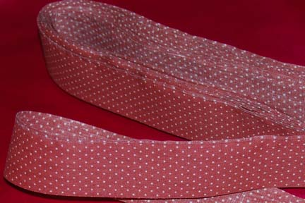 "1 3/8"" Brick Red and White Polka Dots"