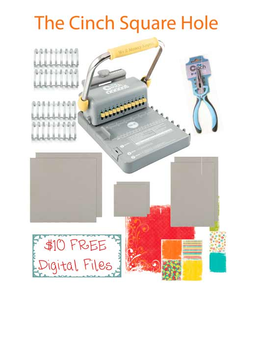The Cinch Bindery SQUARE Holes Machine Bundle